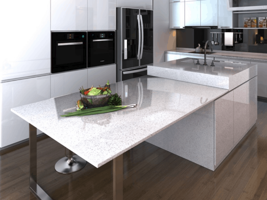 "Sparkling quartz countertop used in ""floating"" island kitchen design"